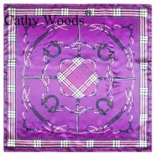 British Style Silk Satin Scarve Professional Women Print Scarf Purple Plaid Pattern Silk Scarf Small Square Scarf 60x60cm(China)