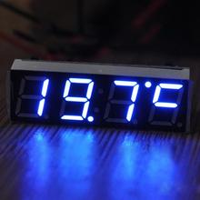 12V 24V Car Auto Digital Led Electronic Time Clock + Thermometer + Voltmeter Three Colors For Choose