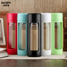 BAISPO Sealed leakproof Glass Water Bottle Tea My Sport Bottle With Strainer Fruit Plastic Water Bottle Bike Cycling Tumbler(China)