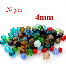 NEW 2017 20pcs DIY Jewelry Glass Crystal Cube Beads Spacer 4x4x4mm For Craft Making