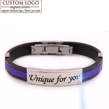 АЗИЗ BEKKAOUI любовь браслеты diy уникальный подарок пара браслет для женщины мужчины ювелирные изделия резиновые ID браслет индивидуальные выгравированы имя