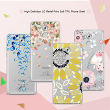 3D Art Print Case Coque For Huawei Honor 6C 5.0 inch Soft TPU Flower Lace Relief Phone Cases Cover For Huawei Honor 6C 6 C Funda