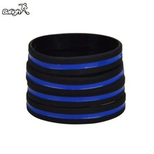 Balight 2pcs Silicone bracelet For Adults Police Officers Patrol Awareness Blue Lives Matter Wristbands with Thin Blue Line(China)
