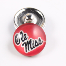 10PCS Ole Miss Rebels 18mm Glass Snap Button Fit Ginger Snap Bracelet Bangles NCAA Football Baseball Series Jewelry