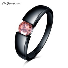 Charming Stone Ring pink blue yellow Zircon Women men Wedding Jewelry Black Gold Filled Engagement Rings Bague Femme DR1730(China)