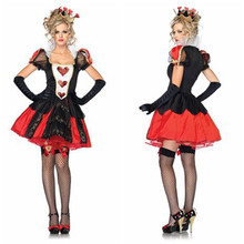 2017 Adult Womens Halloween Costumes Poker Red Queen of Hearts Costume Dress Carnival Party Queen Costumes