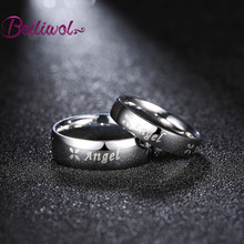 Dropshipping Fashion Rings Sales Angel Clover Stainless Steel Men Wedding Ring Set Engraved Name Gifts Jewellery Couple Rings