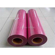 korea Glitter PU heat transfer film/vinyl for garment CDG-04 Pink color glitter material transfer(China)