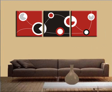 Huge Red and Black and White Abstract Art Circles Picture Spray Painting on Canvas Printed, Modern Home Decorations Wall Art