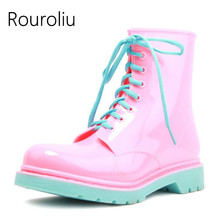 Rouroliu Lace-up Rain Boots Women Anti-slip Waterproof Water Shoes Jelly Ankle Rainboots Wellies Boots Multi Colors  TS192