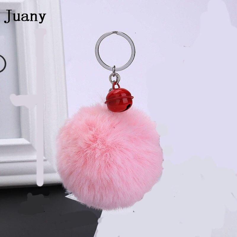 pompom key chain fluffy rabbit fur ball with bell key chain fake fur keychain women car bag key ring 0
