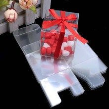 50Pieces/lot Clear Square Wedding Favor Gift Box PVC Transparent Party Candy Bags Chocolate Boxes 5x5x5cm caja de dulces(China)