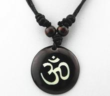 Fashion Hindu Buddhist Hinduism Yoga India yak Resin bone Carving Pendant Necklace Amulet Lucky Gift Tribal Rope Chain Jewelry