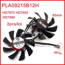 2pcs/lot PLA09215B12H 85mm VGA Fan 40x40x40mm For Sapphire HD7990 HD7970 HD7950 Graphics Card Cooling Fan 4Wires 4Pin