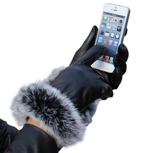 2017 New Style Fashion Rabbit Fur PU Leather Solid Black Gloves Mittens Women Soft Warm Fleece Lined Winter Gloves Female(China)