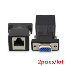 2pcs/lot Extender VGA Female RGB HDB 15pin Female to LAN CAT5 CAT6 RJ45 cat6 Network Cable Female Adapter adaptor RJ45 connector