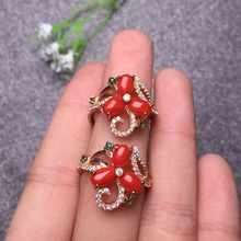 4*6*3pcs fine jewelry ring 925 sterling silver natural SUNFLOWER red coral ring for women