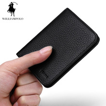 WILLIAMPOLO Genuine Leather Ultra Thin Men Mini Wallet Famous Brand Vertical Style Cute Mens Small Wallets Card Holder POLO149