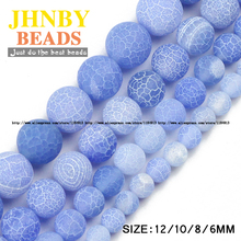 JHNBY AAA Light blue Weathered carnelian beads Natural Stone Round Loose beads ball 6/8/10/12MM Jewelry bracelet making DIY