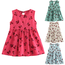 Flower Girl Dress 2017 Summer Cherry Fruit Printed Cotton Soft Sleeveless Princess Wedding Party Dress for 2-9Y(China)