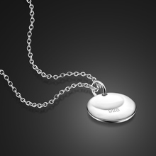 Simple 925 Sterling Silver Necklace Female Facial Round Pendant Solid Silver Necklace Girl Water Wave Necklace Charm Jewelry(China)