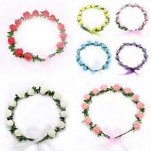 Handmade Flower Wreath for Girls Women Floral Headbands Hairband 7 Colors Flower Garland Party Festival Holidays Daily Wearing(China)