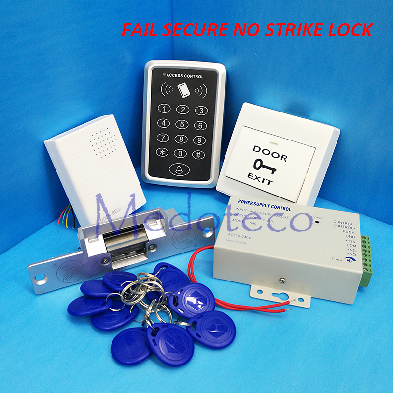 DIY RFID Access Control System Kit Set + Strike Door Lock +ID Card Keytags +Power Supply+Exit Button Door Access Control System<br><br>Aliexpress
