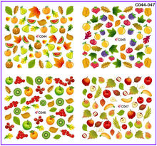 4 PACKS / LOT FULL COVER FRUIT APPLE PEAR BANANA STRAWBERRY CHERRY NAIL TATTOOS STICKER WATER DECAL NAIL ART C044-047