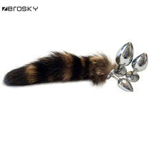 Buy Zerosky Funny Love Faux Fox Tail Butt Anal Plug Sexy Romance Sex Tool Soft Fur Sex Toys Women Cosplay Anal Plug Metal