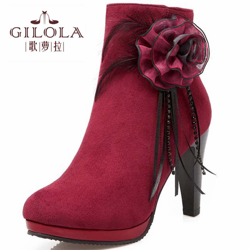 Size 34-43 new fashion high heels ankle women boots autumn flower womens boots autumn winter women shoes woman best #Y3221815F<br><br>Aliexpress