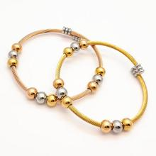New Arrival Spring Wire Line Colorful Beads Stainless Steel Cable Stretch Bracelet Bangles for Women(China)