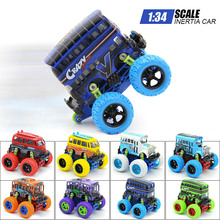 8 Models Lovely Diecast Cars Bus 1:34 4WD Alloy Big Wheels Shock Resistant Inertia School Bus Die Cast Model Buggy Toy Car Truck