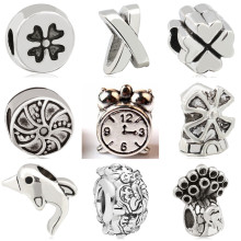 Btuamb Punk Simple Style Snowflake Love Heart Leaves Owl Alloy Charm Beads Fit Pandora Bracelets Women Making Jewelry DIY Gift(China)