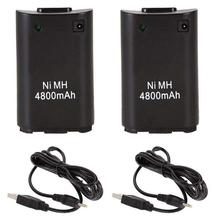 2x 4800mAh Battery Pack + Charger Cable for Xbox 360 Wireless Controller  battery pack xbox 360 battery charger