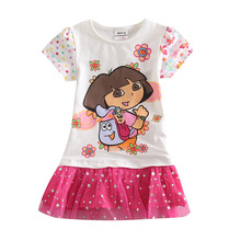 Kid dresses for children girls 2-6 years DORA WHITE kids wear,vestidos infantis de birthday dresses for baby girls clothes