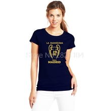 Women 2017 real XII Champions League Winners 12 la Duodecima  lady T Shirt short sleeve girl T-shirt for madrid fans