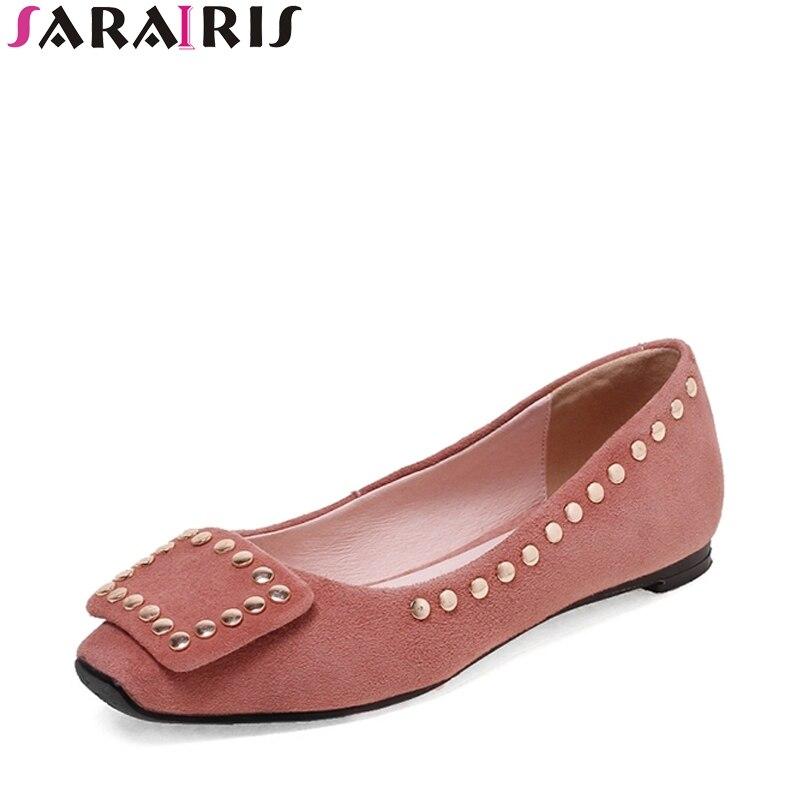 SARAIRIS Size 33-39 Fashionable Kid Suede Punk Rivet Flat Shoes Metal Decoration Square Buckle Spring Autumn Shoes Woman<br>