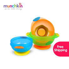 Munchkin Stay Put Suction baby Bowl 3 Count global free shipping Baby Infants boy girl feeding Bowl BPA free(China)