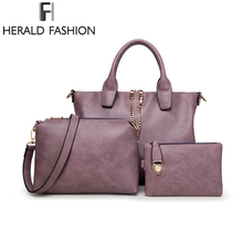 3 Pcs/Set Vintage Handbags Women Messenger Bags Female Purse Solid Shoulder Bags Office Lady Casual Tote 2015 New Top-Handle Bag
