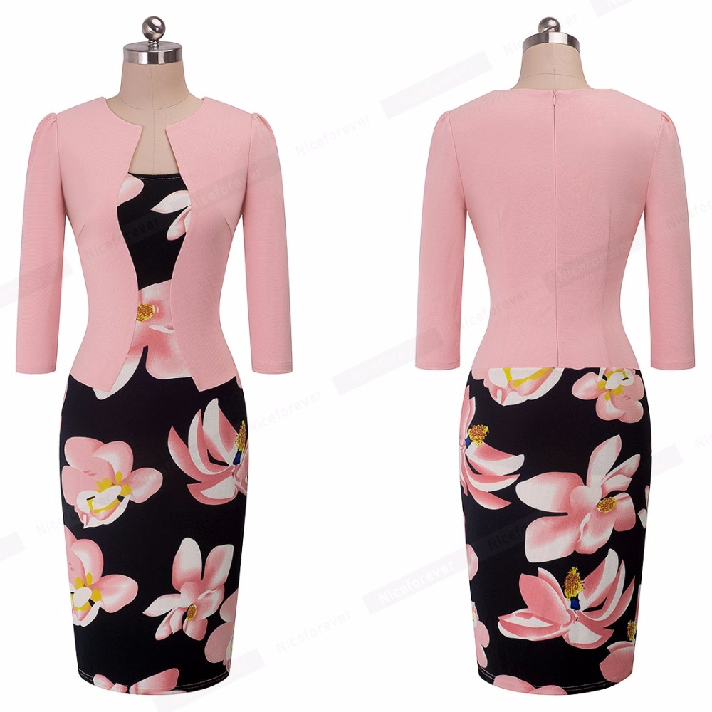 Nice-forever One-piece Faux Jacket Brief Elegant Patterns Work dress Office Bodycon Female 3/4 Or Full Sleeve Sheath Dress b237 17