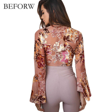 BEFORW Summer Sexy Beach Chiffon Women Blouses Flower Printing Women Tops Long Speaker Sleeves Crop Top Fashion Short Blouse