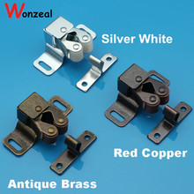 Big size Double roller bronze plate door latch wardrobe catch kitchen cabinet cupboard(China)