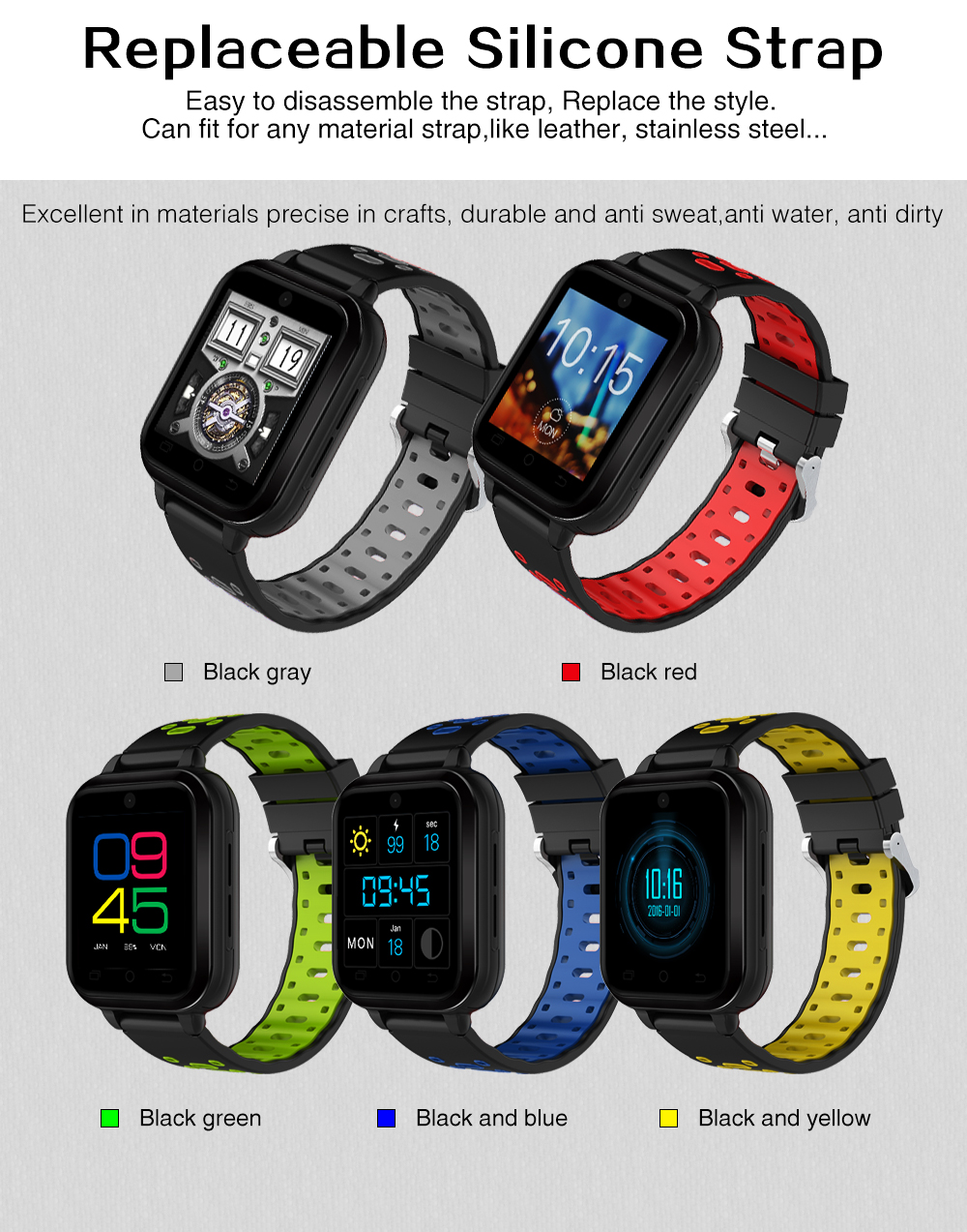 Torntisc Q1 Pro 4G smartwatch Android 6.0 MTK6737 Quad Core 1GB8GB Watch Phone Support Blood pressure Heart Rate monitor Sim Card WIFI GPS Wristwatch for Android (10)