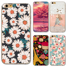 Soft TPU Cover For Apple iPhone 5 5S SE 6 6S 6Plus 6S 7 7+ Cases Phone New Design Painting Pure Daisy Spring Girl Patterns Hot!