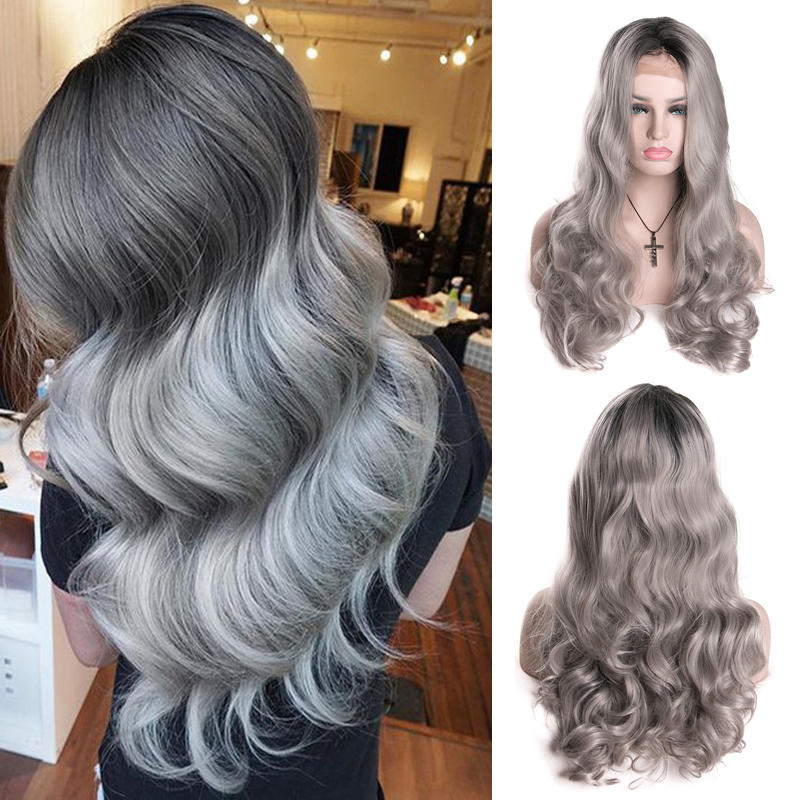 Long Wavy Synthetic Front Lace Wig Grey Wigs With Dark Roots Lace Front Wigs For White Black Women Pelucas Pelo Natural Cosplay<br><br>Aliexpress
