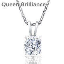 Queen Brilliance 2ctw 7*8mm G color Lab Grown Moissanite Diamond Pendant Necklace For Women Platinum Plated 925 Sterling Silver