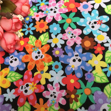 100x110cm Cotton Plain Patchwork Colorful Flower Skull Cloth Sewing Fabric Home Decor Material Unique Novelty Design Fabric