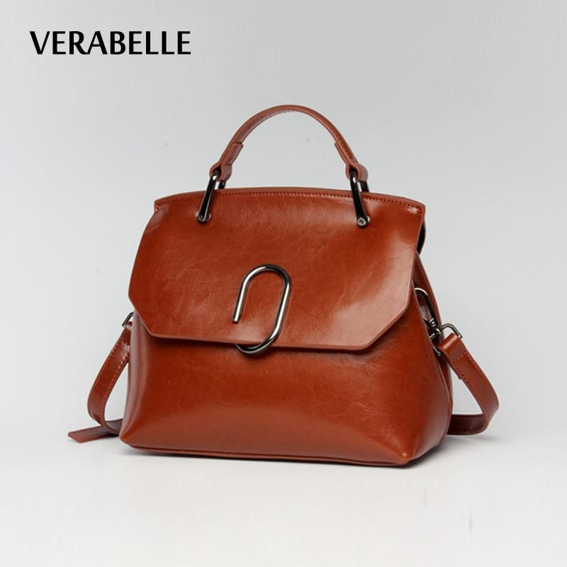 VERABELLE 2017 Vintage Oil Wax split leather shoulder female bag paper clip women high quality messenger purse and Handbag<br>
