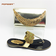 Italian shoes with matching bags gold color comfortable Nigeria slippers antiskid shoe with bag set factory outlet high quality(China)