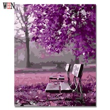 WEEN Purple Romantic Pictures By Numbers DIY Hand Painted Park tree chair Wall Oil Painting By Number Artwork Home Decor Gift
